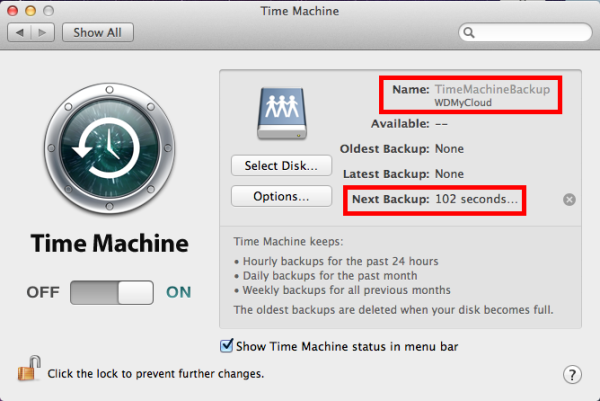 Starting macOS Time Machine Backups to My Cloud and Network Attached