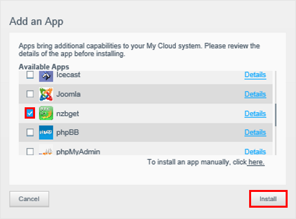 How to install the NZBGet App on a My Cloud with firmware