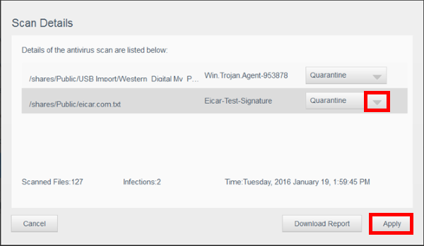 Anti-Virus Essentials finds a virus on a multi-bay My Cloud