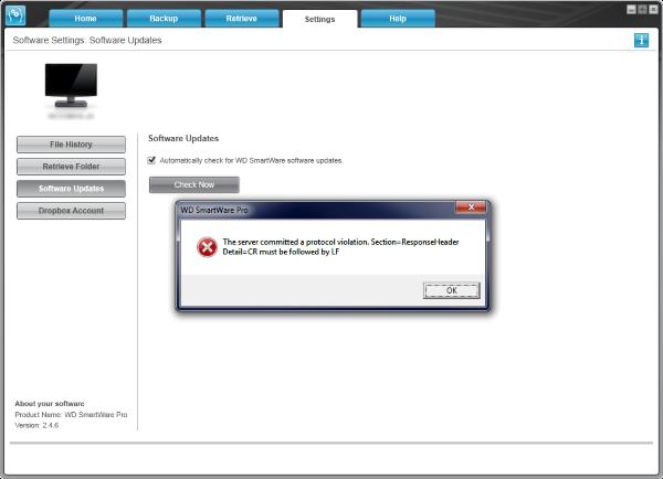 WD SmartWare Error: 'Server committed a protocol violation' occurs