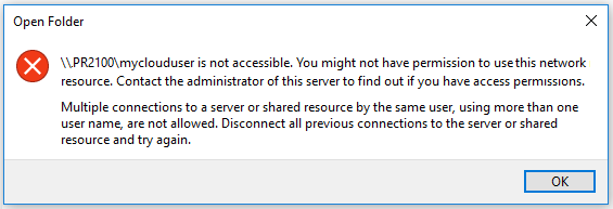 Multiple Connections To A Server Or Shared Resource By The Same User Using More Than One Name Are Not Allowed