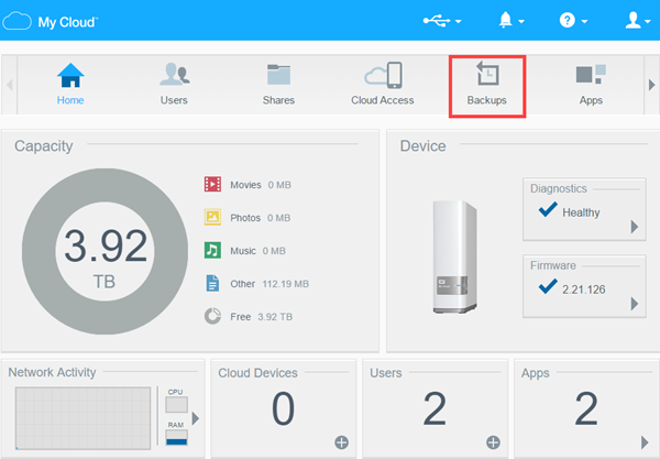 Configuring USB Backups on a WD My Cloud