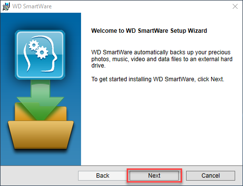 Installing WD SmartWare and creating an initial backup on a