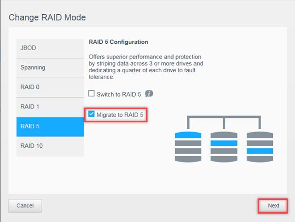 Migrer un RAID 1 vers un RAID 5 en ajoutant des disques à un My