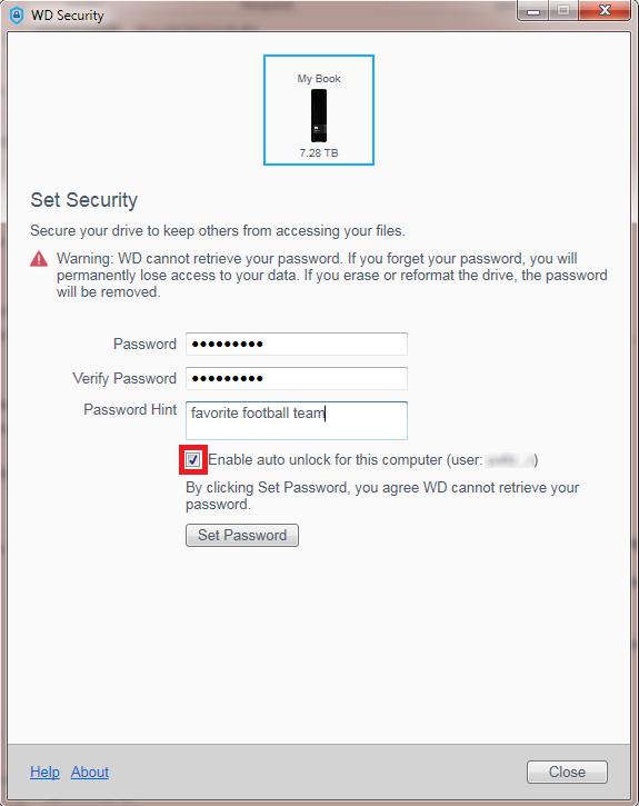 WD Security Auto Unlock feature