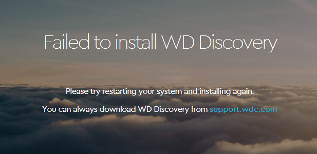 WD Discovery Failed to Install
