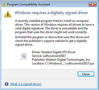 Wd Discovery Unsigned Driver Pop Up Message On Windows 7