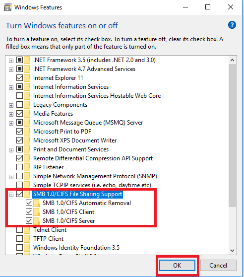 How to Enable SMB 1 0/CIFS File Sharing Support on Windows 10