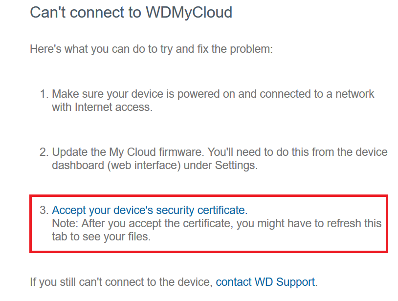 MyCloud com Can't Connect To My Cloud Accept Device Security