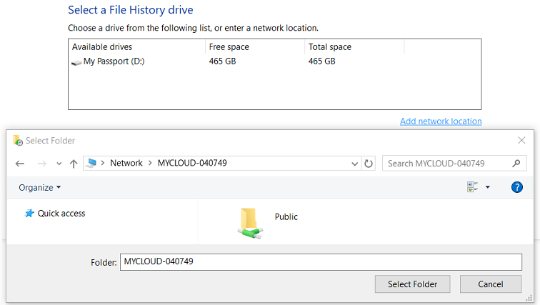 Windows 10 File Backup Does Not See My Cloud, My Cloud Home
