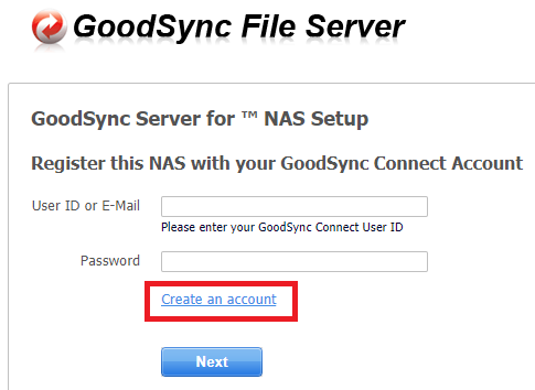 create goodsync connect account
