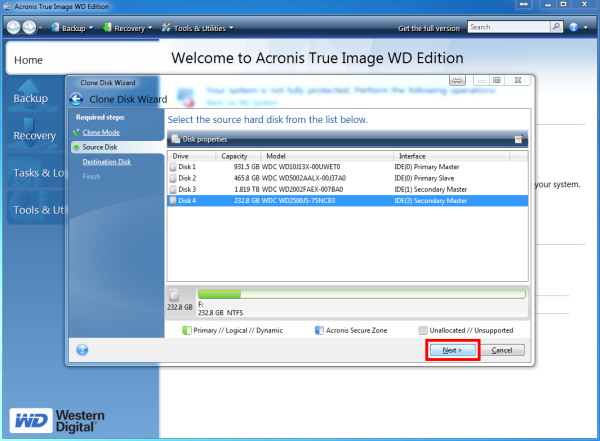 How to Automatically Clone a disk with Acronis True Image WD Edition software | WD Support
