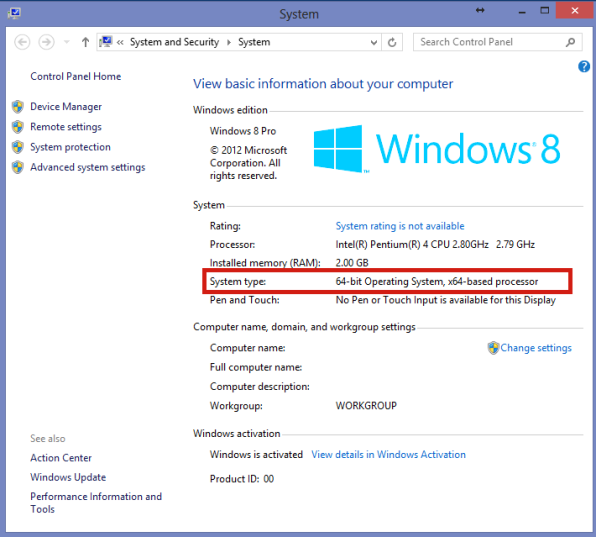 How to determine if windows os is 32 bit x86 or 64 bit for Window 64 or 32