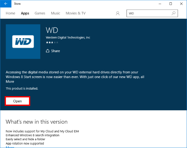 How to install WD App in Windows 8 and Windows 10 | WD Support Click on Free or Install once again to download and install the app. Once  complete, click on theOpen button to proceed to the End User License  Agreement.