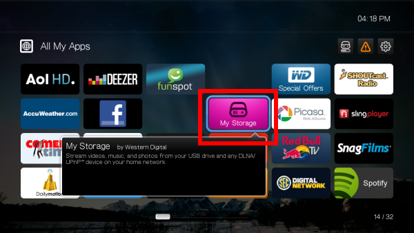 How to access media files on an attached USB storage device