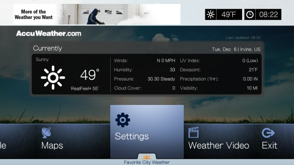 How to access and configure the 'Accuweather com' service on a WD TV