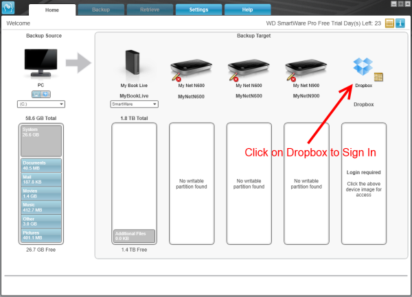 How to create a backup to a Dropbox account using WD