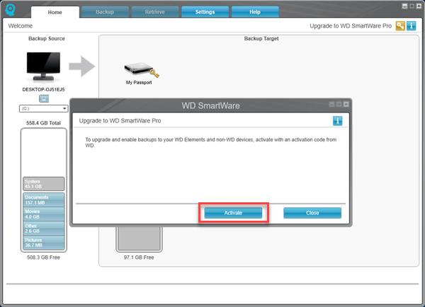How to upgrade WD SmartWare to WD SmartWare Pro