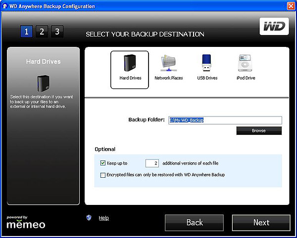 How to set up a backup with WD Anywhere Backup on a computer
