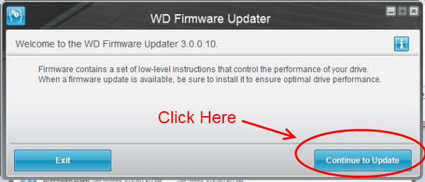 Screen shot of Western Digital Universal Firmware Updater for Windows