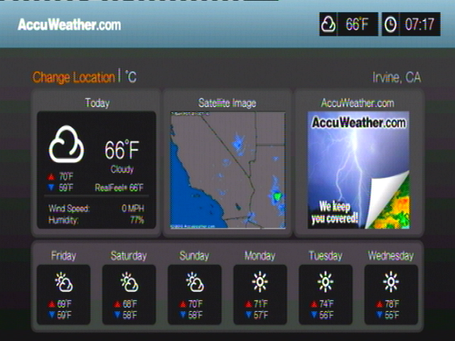 How to change the location shown in the AccuWeather Service or